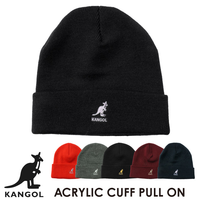 KANGOL  ACRYLIC CUFF PULL-ON/BLACKxGOLD